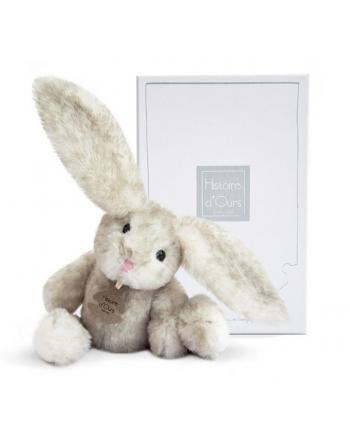 Plyšový zajačik Fluffy sivý v škatuľke - Histoire D´Ours (27 cm)