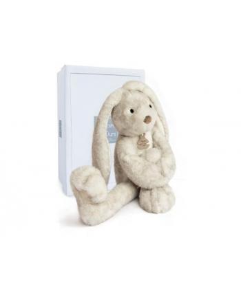 Plyšový zajačik s dlhými nohami Fluffy sivý v škatuľke - Histoire D´Ours (38 cm)