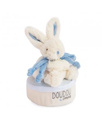 Plyšový zajačik modrý - hracia skrinka v škatuľke - Dou Dou (17 cm)