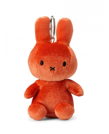 Plyšový zajačik oranžovočervený zamat - kľúčenka - Miffy (10 cm)