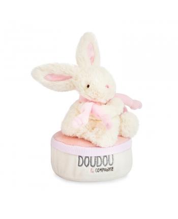 Plyšový zajačik ružový - hracia skrinka v škatuľke - Dou Dou (17 cm)