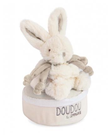 Plyšový zajačik sivý - hracia skrinka v škatuľke - Dou Dou (17 cm)