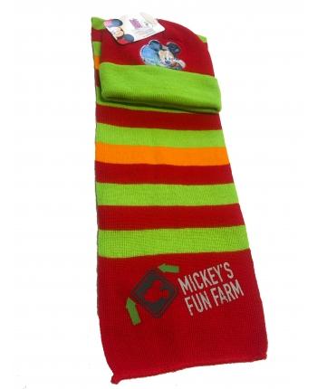 Set zimného oblečenia - Mickey Mouse - červeno-zelená - čiapka + šál