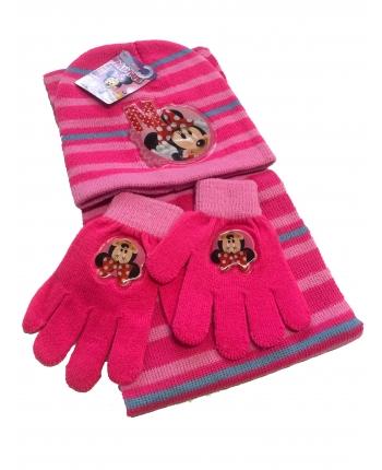 Set zimného oblečenia - Mickey Mouse - ružová - čiapka + šál + rukavice