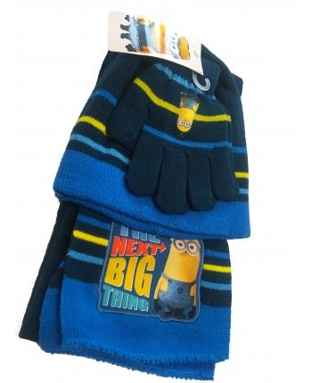 Set zimného oblečenia - Mímoň - tmavo modrá - čiapka + šál + rukavice