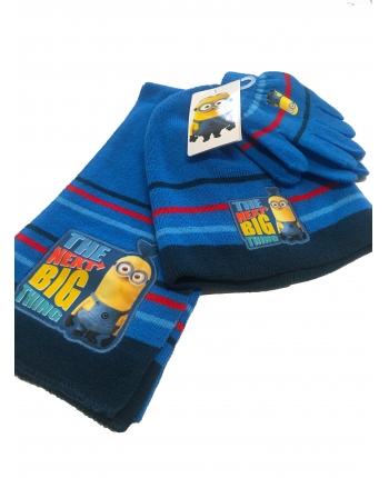 Set zimného oblečenia - Mímoň - svetlo modrá - čiapka + šál + rukavice