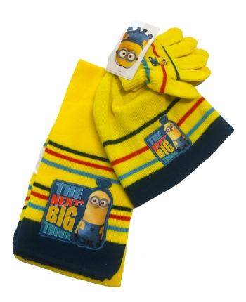 Set zimného oblečenia - Mímoň - žltá - čiapka + šál + rukavice