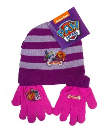 Set zimného oblečenia - Paw Patrol - fialová - čiapka + rukavice