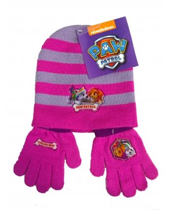 Set zimného oblečenia - Paw Patrol - ružová - čiapka + rukavice