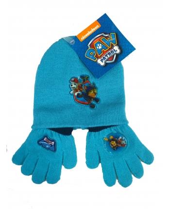 Set zimného oblečenia - Paw Patrol - svetlo modrá - čiapka + rukavice