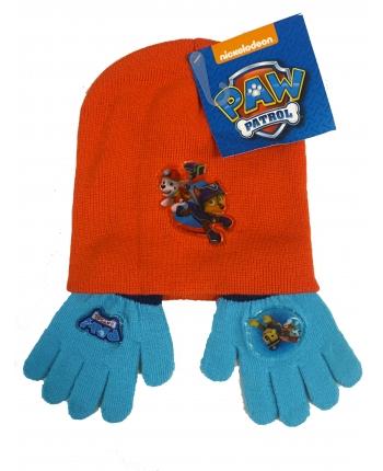 Set zimného oblečenia - Paw Patrol - svetlo modrá-červená - čiapka + rukavice