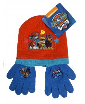 Set zimného oblečenia - Paw Patrol - tmavo modrá-červená - čiapka + rukavice