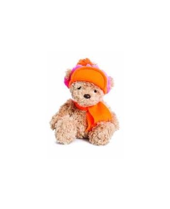 Plyšový medveď Wina s oranžovo-ružovou čiapkou - Bear Collection (23 cm)